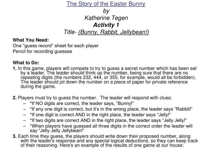 The story of the easter bunny by katherine tegen activity 1 title bunny rabbit jellybean
