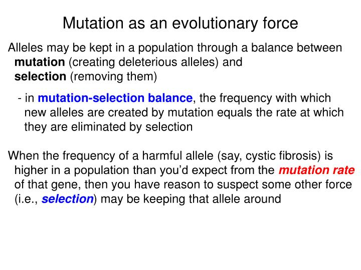 Mutation as an evolutionary force