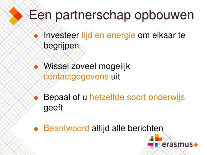 Een partnerschap opbouwen