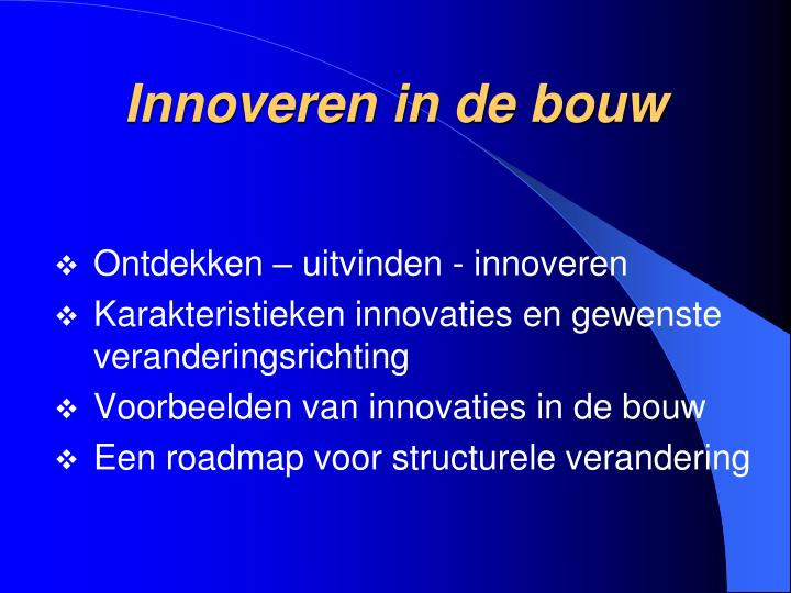 Innoveren in de bouw