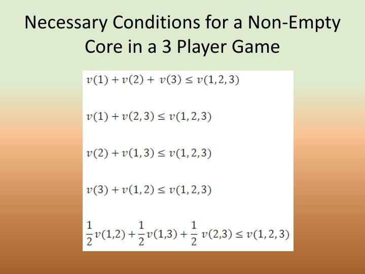 Necessary Conditions for a Non-Empty Core in a 3 Player Game