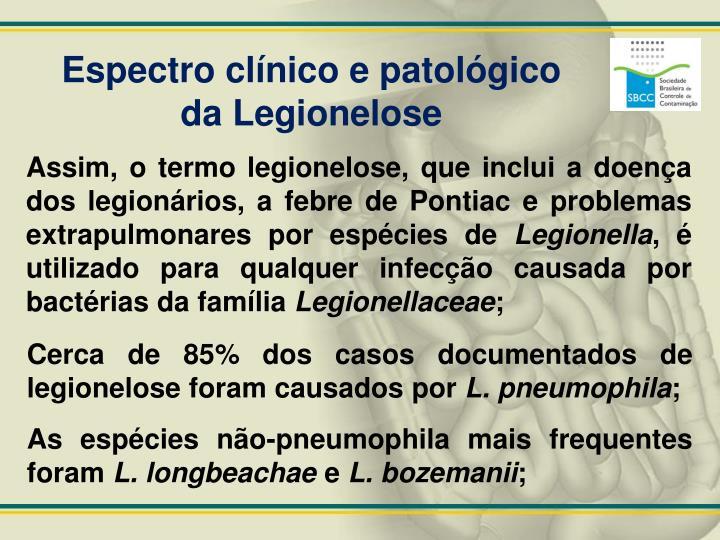 Espectro clínico e patológico da Legionelose