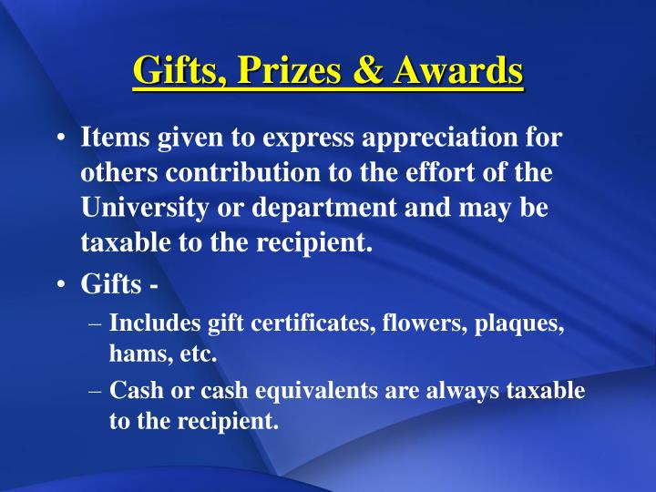 Gifts, Prizes & Awards