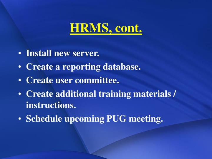 Hrms cont