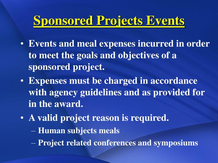 Sponsored Projects Events
