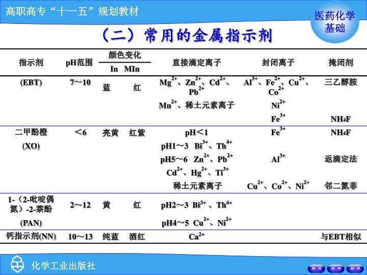 (二)常用的金属指示剂