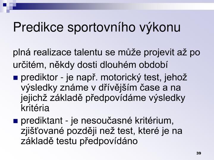 Predikce sportovnho vkonu