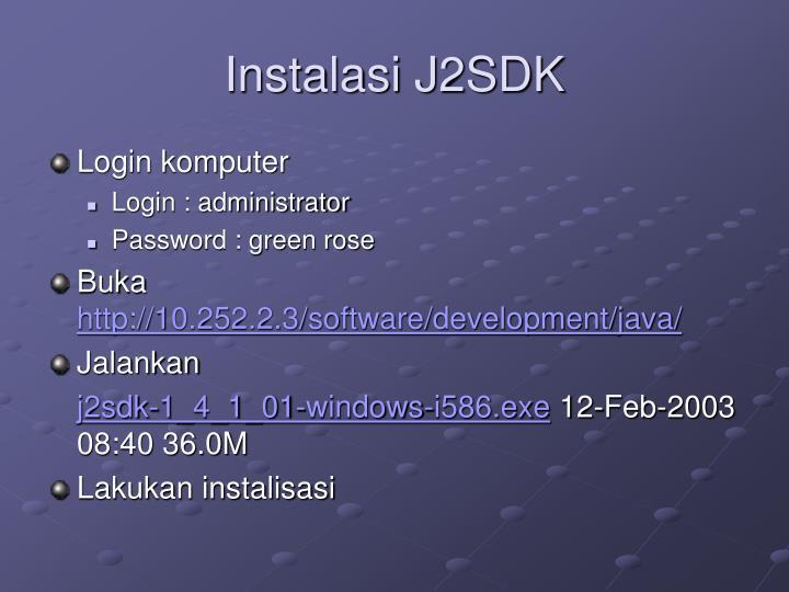 Instalasi J2SDK