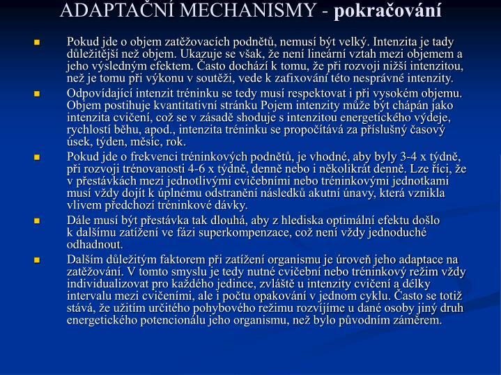ADAPTAČNÍ MECHANISMY -