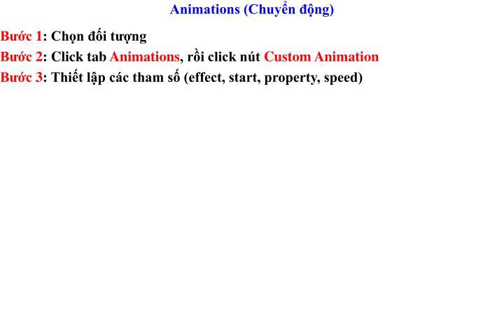 Animations (Chuyển động)
