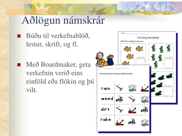 Aðlögun námskrár
