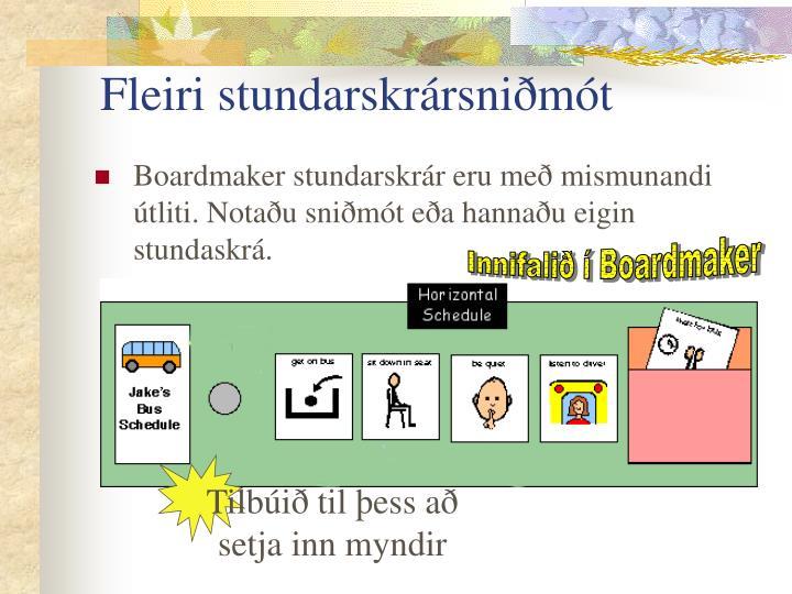 Fleiri stundarskrársniðmót