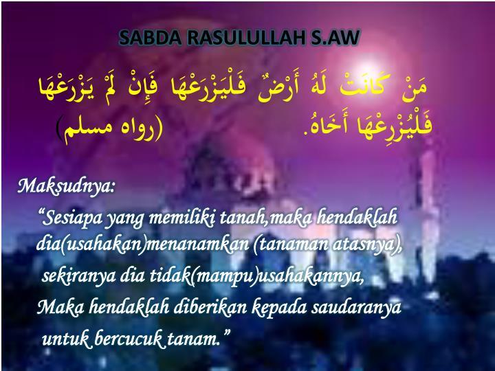 SABDA RASULULLAH S.AW