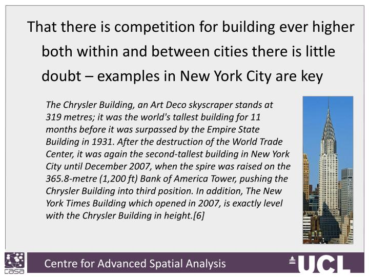 That there is competition for building ever higher both within and between cities there is little doubt – examples in New York City are key