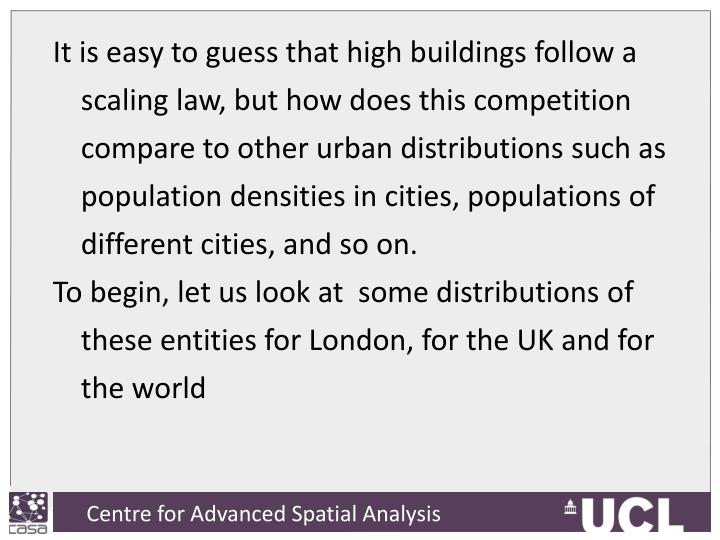It is easy to guess that high buildings follow a scaling law, but how does this competition compare to other urban distributions such as population densities in cities, populations of different cities, and so on.