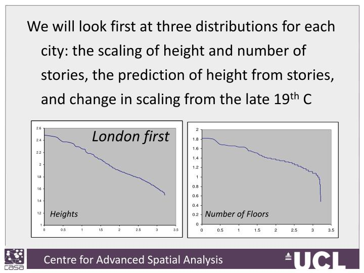 We will look first at three distributions for each city: the scaling of height and number of stories, the prediction of height from stories, and change in scaling from the late 19