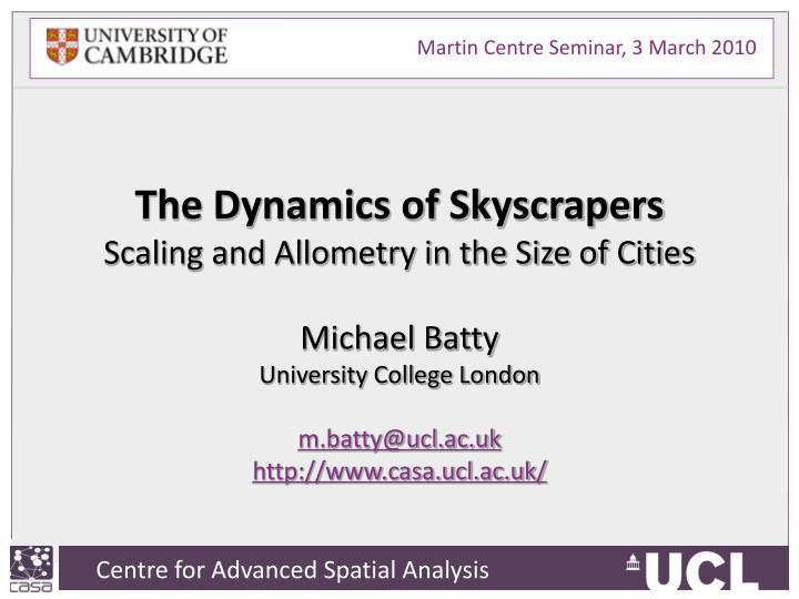 Martin Centre Seminar, 3 March 2010