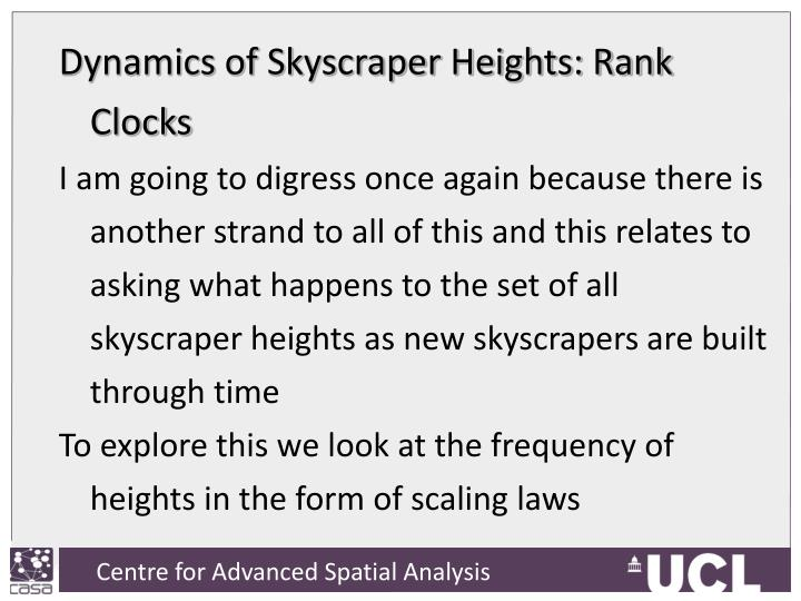 Dynamics of Skyscraper Heights: Rank Clocks