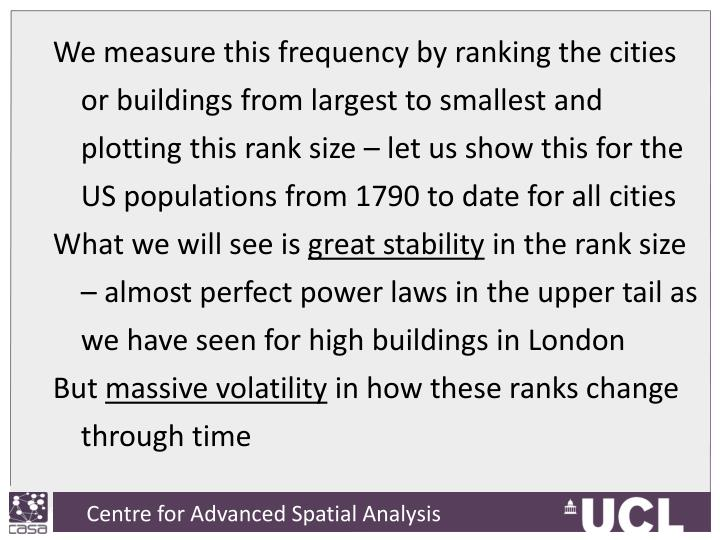 We measure this frequency by ranking the cities or buildings from largest to smallest and plotting this rank size – let us show this for the US populations from 1790 to date for all cities