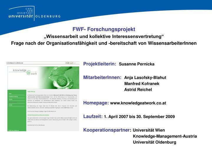 FWF- Forschungsprojekt
