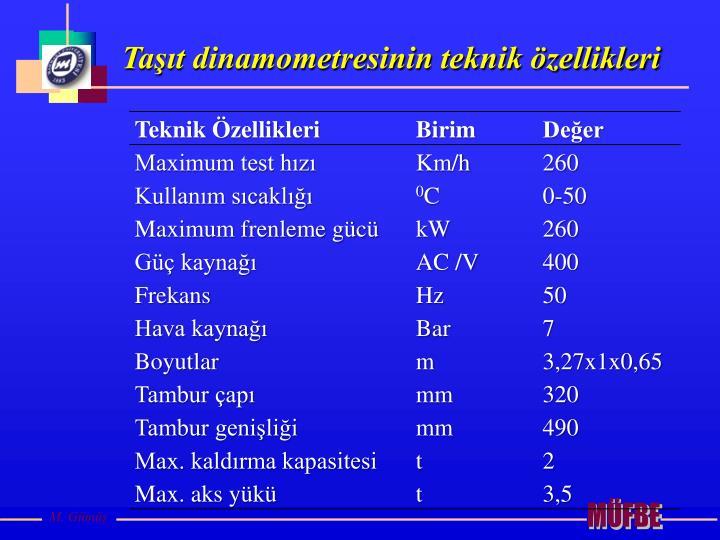 Taşıt dinamometresinin teknik özellikleri