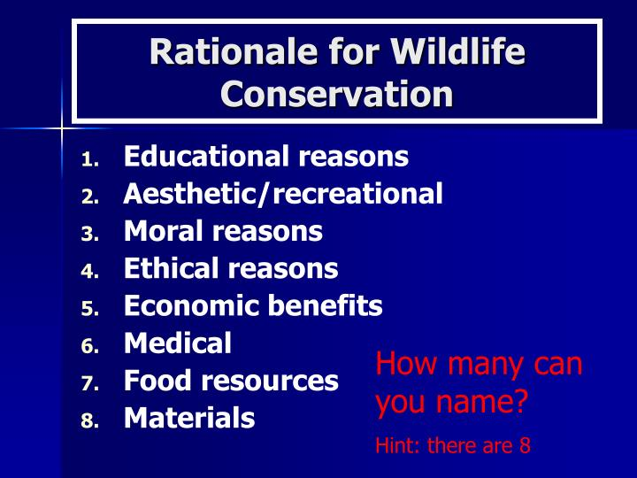Rationale for wildlife conservation