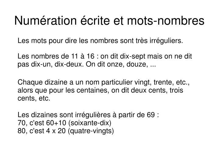 Numération écrite et mots-nombres