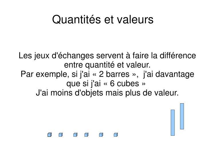 Les jeux d'échanges servent à faire la différence entre quantité et valeur.