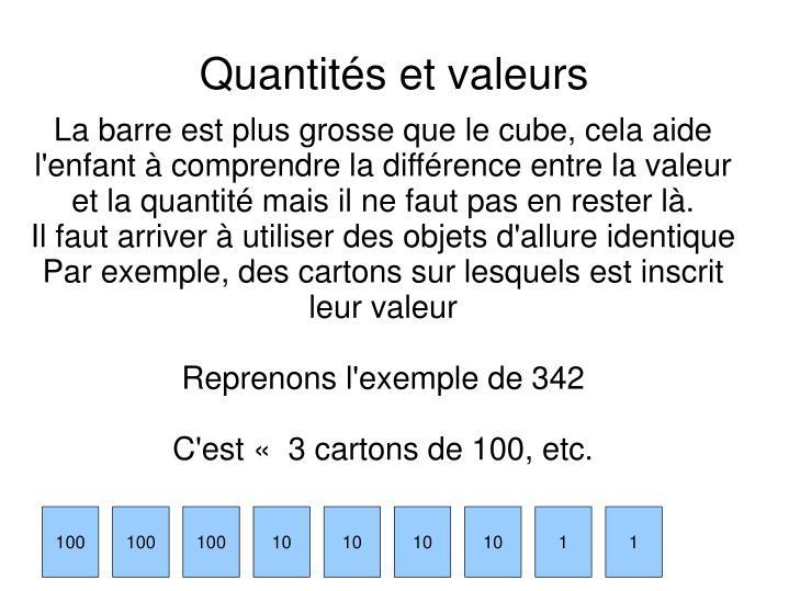 La barre est plus grosse que le cube, cela aide l'enfant à comprendre la différence entre la valeur et la quantité mais il ne faut pas en rester là.