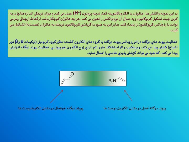 در اين نمونه واكنش ها، هالوژن با الكترونگاتيويته كمتر شبيه پروتون