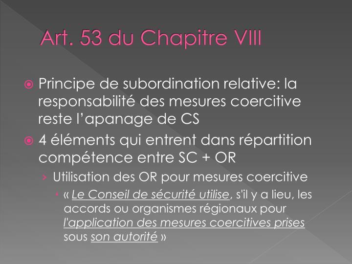 Art. 53 du Chapitre VIII