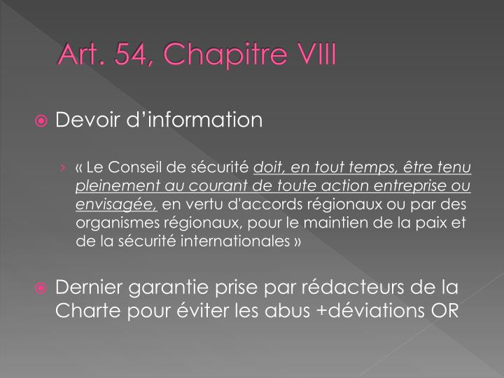 Art. 54, Chapitre VIII