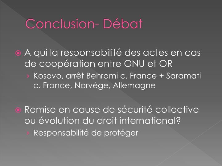 Conclusion- Débat