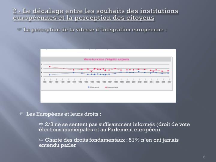 2 - Le décalage entre les souhaits des institutions européennes et la perception des citoyens