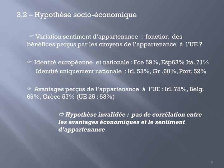 3.2 – Hypothèse socio-économique