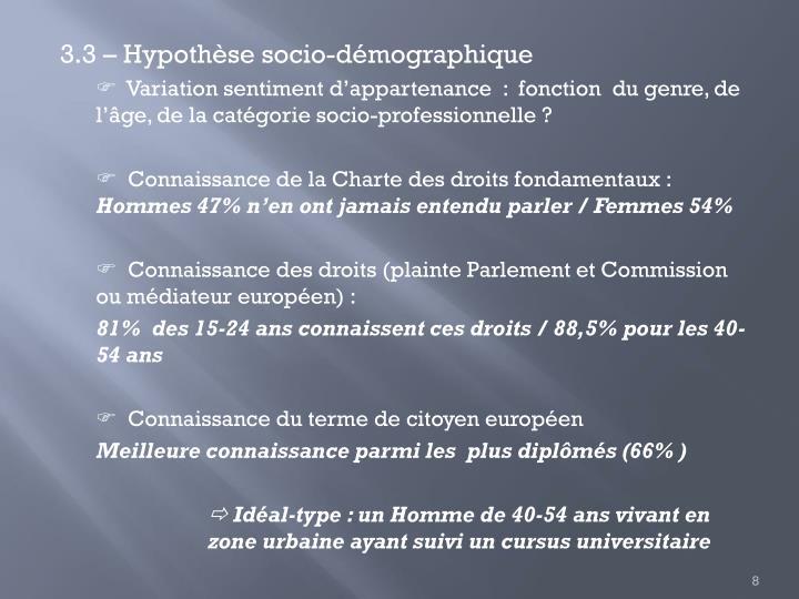 3.3 – Hypothèse socio-démographique