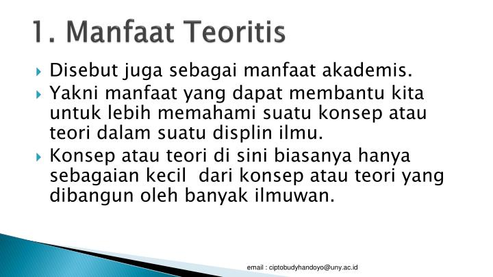 1. Manfaat Teoritis