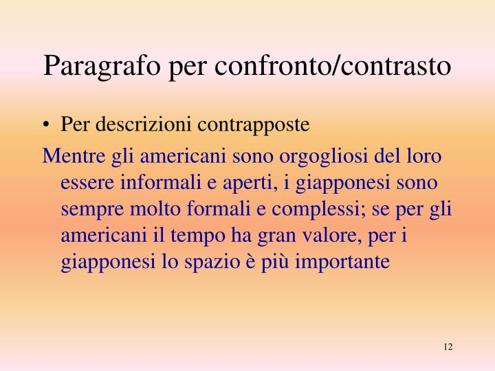Paragrafo per confronto/contrasto