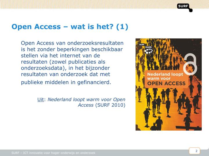 Open access wat is het 1