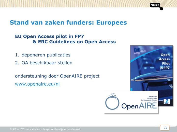 Stand van zaken funders: Europees