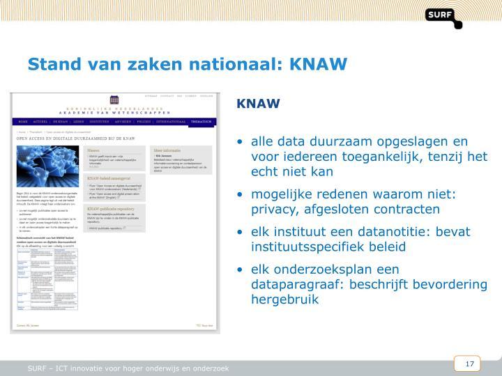 Stand van zaken nationaal: KNAW