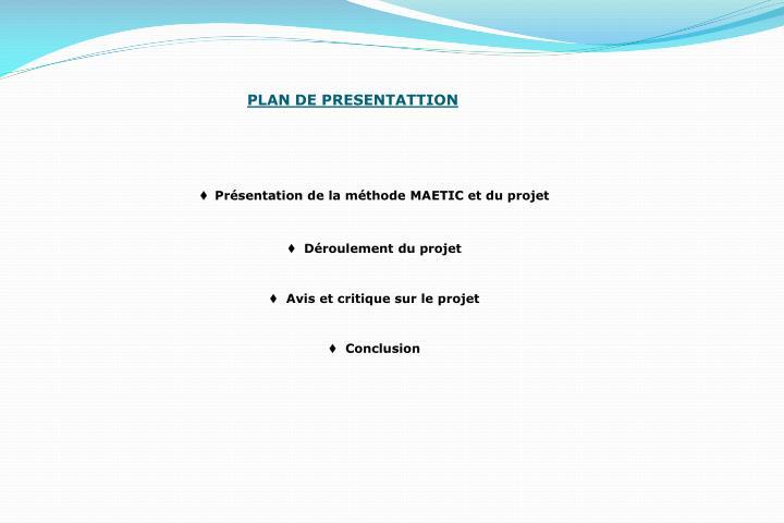 PLAN DE PRESENTATTION