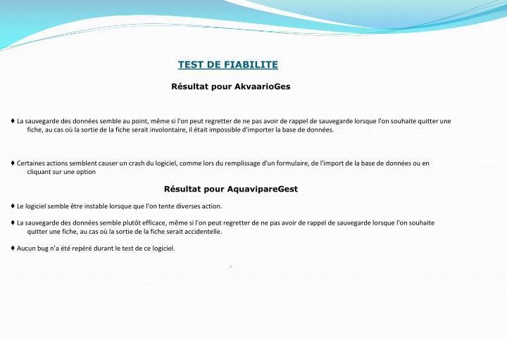 TEST DE FIABILITE