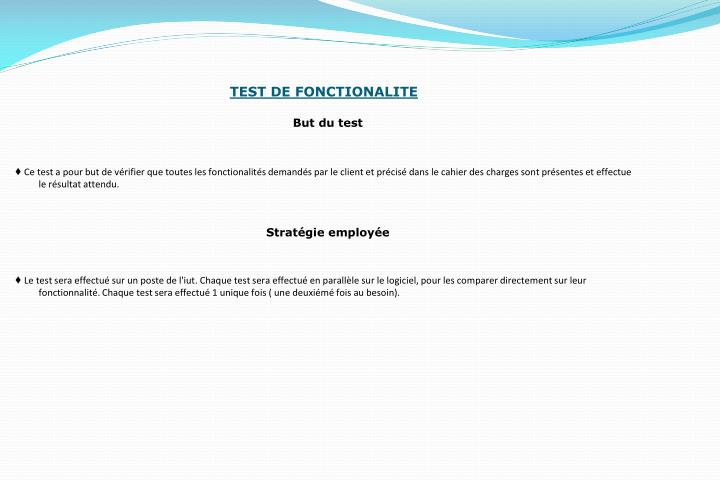 TEST DE FONCTIONALITE