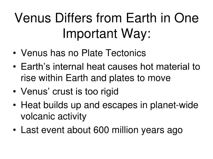 Venus Differs from Earth in One Important Way: