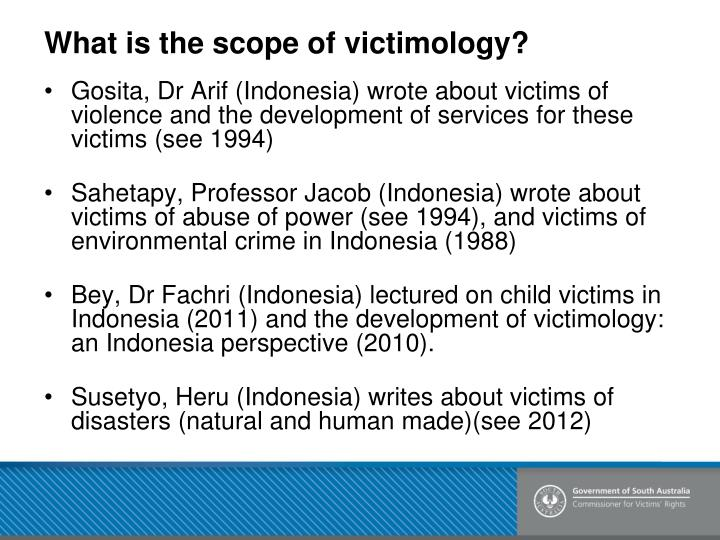 victimology abuse Victimology: abuse review sheet for victimology final any multimedia presentations post midterm chapter 5 dispute resolution retributive justice vs .