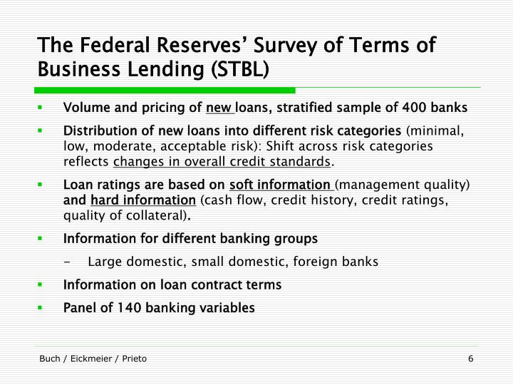 The Federal Reserves' Survey of Terms of Business Lending (STBL)