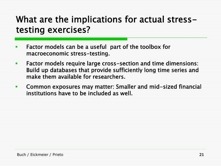 What are the implications for actual stress-testing exercises?