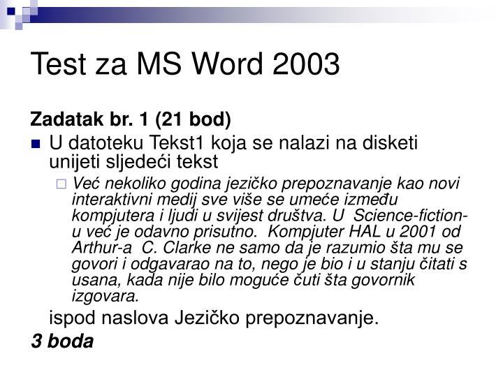 Test za MS Word 2003