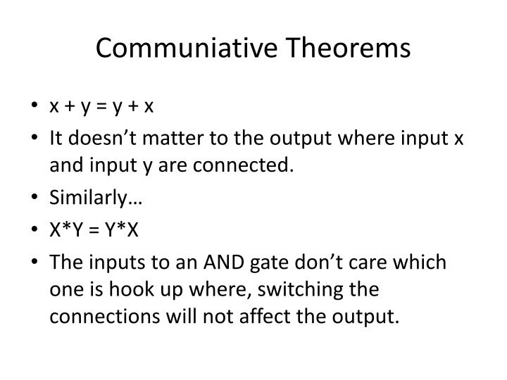 Communiative theorems